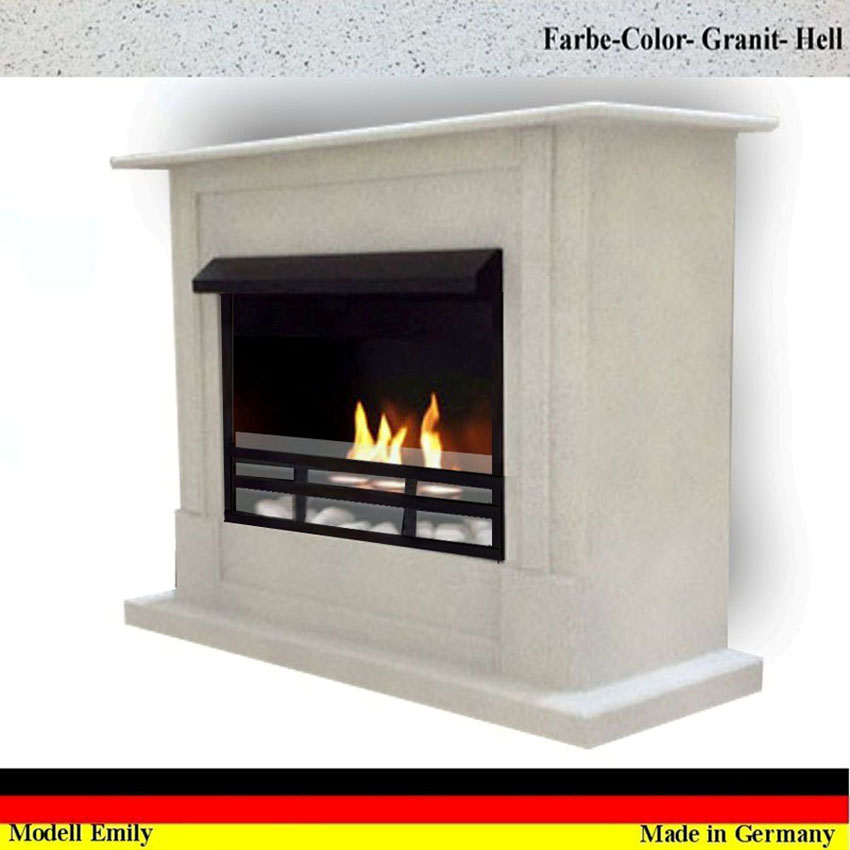 gelkamin ethanolkamin kamin fireplace cheminee emily deluxe royal granit hell ebay. Black Bedroom Furniture Sets. Home Design Ideas