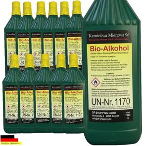 12 Liter Hochleistungs Bio Ethanol  Bio Alkohol für Ethanol- und Gelkamine
