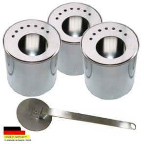 3 Dosen Weißblech 0,5 und 3 Platten Edelstahl 1 Flammenkiller