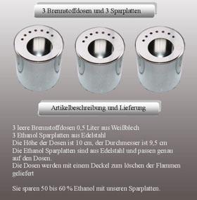 3 Brennstoffdosen Weißblech 0,5 + 3 Platten aus Edelstahl