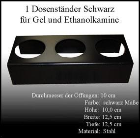 Metallständer schwarz für 0,5 L Ethanol Dosen Kamin