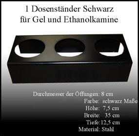 Metallständer schwarz für 0,25 L Ethanol Dosen Kamin