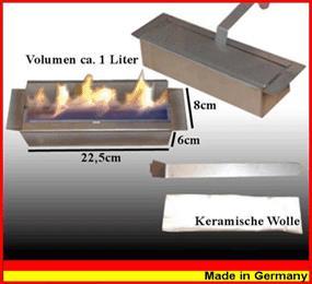 Regulierbarer 1 Liter Ethanol Brenner aus Edelstahl mit k.Watte