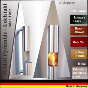 Ethanol- und Gelkamin  Kamin Modell Pyramide - Wählen Sie die Farbe