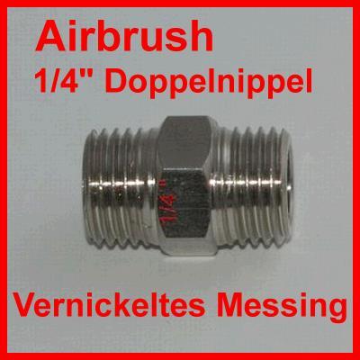 "Airbrush 1/4"" Doppelnippel / Aus vernickeltem Messing"