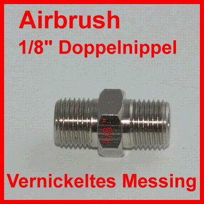 "Airbrush 1/8"" Doppelnippel / Aus vernickeltem Messing"