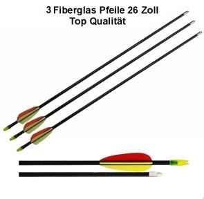 "3 Pfeile 26"" (66cm ) für Compound / Recurve Bogen - Fiberglas"