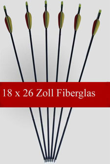 18 Pfeile - Fiberglas - 26 Zoll lang - Compound/Recurve