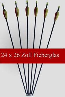 24 Pfeile - Fiberglas - 26 Zoll lang - Compound/Recurve